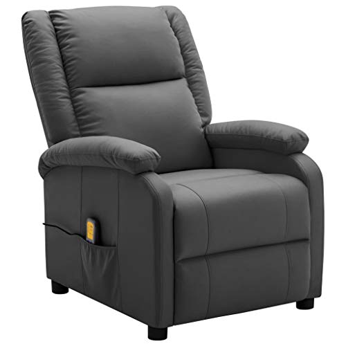 vidaXL Fauteuil de Massage Inclinable Fauteuil de Relaxation Inclinable Electrique Salon Salle de Séjour Maison Intérieur Anthracite Similicuir