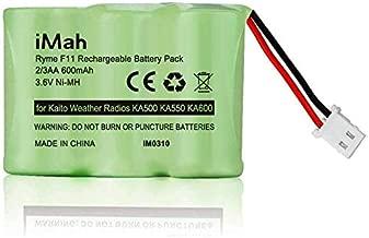 iMah Ni-MH 2/3AA600mAh 3.6V Battery Pack fits Kaito Weather Alert Radio KA500 KA550 KA600 Voyager Radios Eton FR200 FR250 FR300 FR350 FR370 FR400 FR405 FR600 (Not fit Eton FRX3 FR360 Axis Radio)