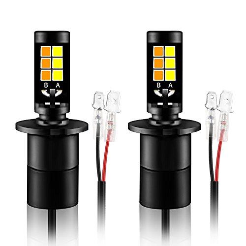 Kit de luz de niebla de coche de color dual, amarillo, mesllin, blanco 40W Bombillas de conducción de H3 LED, luces diurnas de DRL, lámpara de niebla de DRL DC 12V (H3)
