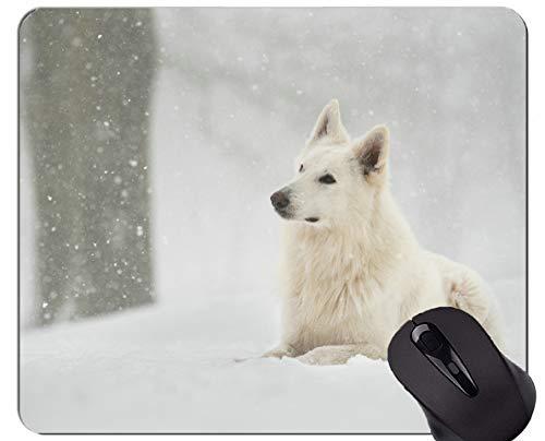 Yanteng Alfombrilla de ratón de Caucho Natural, Estampada con Nieve Nevada, Perro de Invierno - Bordes cosidos