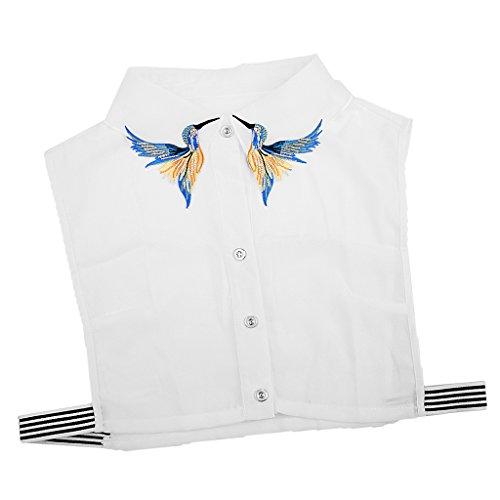 Damen Kragen Abnehmbare Hälfte Shirt Bluse Blusenkragen Krageneinsatz Bluseneinsatz - Vogel, Halbes Hemd