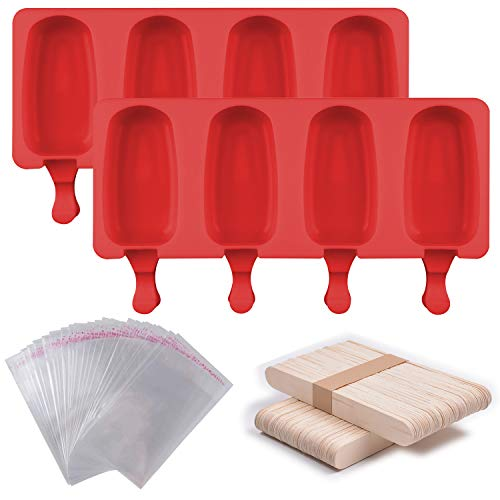 Lainrrew 2 Stück Silikon-Eisformen mit 4 Mulden, selbstgemachtes Eis am Stiel, mit 50 Holzstäbchen und 50 Eisbeutel zum Selbermachen von Eis am Stiel (Stil 1)