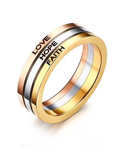 VNOX Damen Edelstahl dreifach stapelbar Band Ring mit Liebe Faith Hope graviert