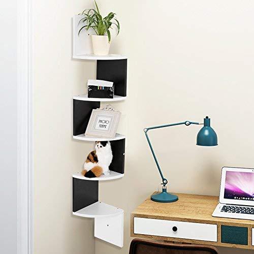 Greensen Eckregal Holz Wandregal Weiss DVD Regal, Modern Hängeregal 5 Ebenen CD Regal Bücherregal, Zickzack Schweberegal Büroregal für Wohnzimmer Schlafzimmer Küche Badezimmer