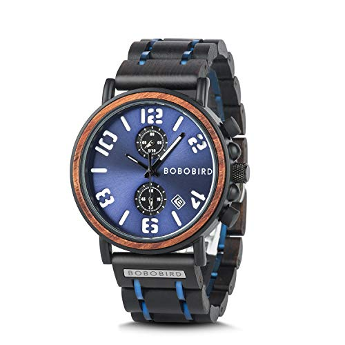 wood watches with dates BOBO BIRD Men's Wood Watch Stainless Steel Luxury Brand Design Analog Quartz Wrist Watches Waterproof Date Timepieces (Blue)