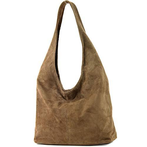 modamoda de - italiana de cuero bolso de gamuza T150, Color:Marrón Pálido