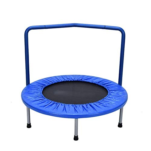 Rebounder 36' Home Children's Indoor Bounce Bed Small Mini Trampoline Baby Family Bungee Kindergarten Leisure Trampoline with Armrests Blue Max Load 100kg Fitness Trampoline Exercise Equipment