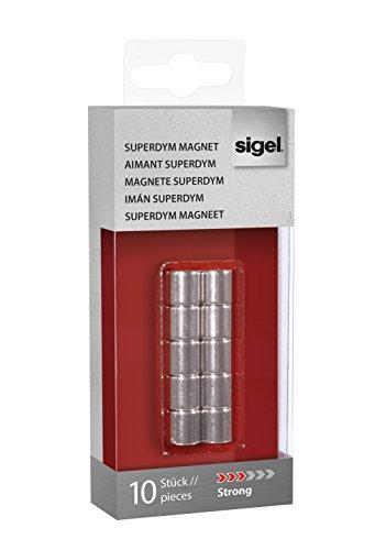 Sigel GL701 - Imanes de neodimio C5 para pizarra de cristal magnética (10 x 10 mm, diseño cilindro, 10 unidades), color plateado