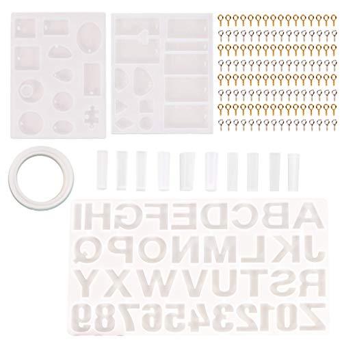 ZJL220 214 moldes de resina con letras y números de alfabeto, de silicona, llavero con colgante de resina epoxi, moldes de joyería para hacer herramientas