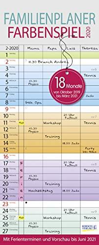 Familienplaner Farbenspiel 2019/2020 18 Monate: Familienkalender mit 4 Spalten, Wandkalender von Oktober 2019 bis März 2021. Ferientermine und Vorschau bis Juni 2021.
