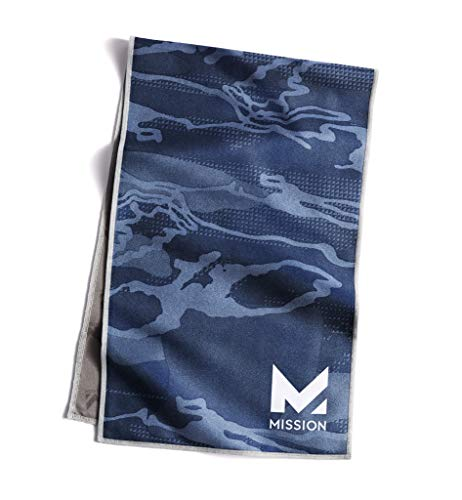 """Mission Original Cooling Towel- Evaporative Cool Technology, Cools Instantly When Wet, UPF 50 Sun Protection, for Sports, Yoga, Golf, Gym, Neck, Workout, 10"""" x 33""""- Camo Blue"""