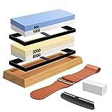 Sharpening Stone Whetstone Set 4 Side Grit 400/1000 3000/8000, Professional Whetstone Knife...