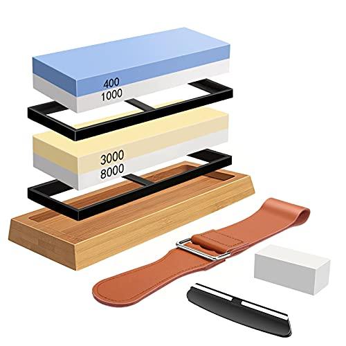 Sharpening Stone Whetstone Set 4 Side Grit 400/1000 3000/8000, Professional Whetstone Knife Sharpener, Knife Sharpening Stone Kit with Bamboo Base, Flatting Stone, Angle Guide & Leather Strop