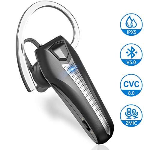 Bluetooth Headset 0.3 Unzen Wasserdicht Dual CVC 8.0 Rauschunterdrückung Mikrofon Bloothooth 5.0 Kabellos In-Ear Ohrhörer Hands Free Funk Kopfhörer für Fahren iPhone Samsung Huawei Handy von Samnyte…
