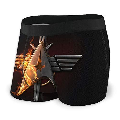 Star Trek Boxer pour homme en microfibre souple extensible en coton imprimé, élastique, respirant et confortable - Noir - M
