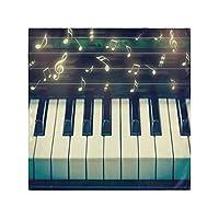ディナークロスナプキンピアノミュージックノートファミリーディナーウェディングパーティーバンケットレストラン用キッチンテーブルナプキン6個セット-50X 50 CM