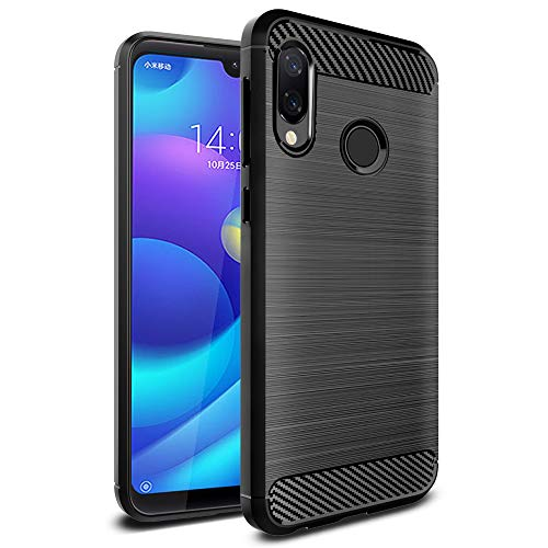 Funda Ferilinso para Xiaomi Redmi 7 PRO / Xiaomi Mi Play, funda protectora a prueba de golpes Funda protectora a prueba de golpes en fibra de carbono (Negro)