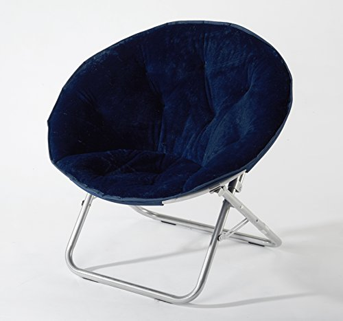 Urban Shop Super Soft Faux Fur Saucer Chair with Folding Metal Frame, Navy, 29'X32'X22'