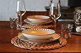 Decorasian Platzset aus Seegras - Wasserhyazinthe, 4er Set Tischset abwischbar 35cm Tischuntersetzer rund Natur - 2