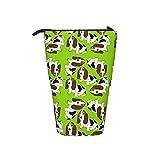 Soporte para lápices, estuche telescópico con cremallera multifuncional bolsa de maquillaje suministros estacionarios bolsa Basset Hound On Lime Green Micro