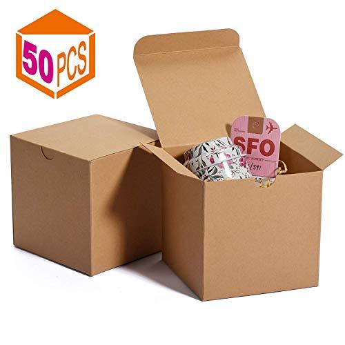 HOUSE DAY Cajas de regalo 10x10x10cm Cajas de regalo de papel Kraft con tapas para regalos Crafting Cupcake Cajas de cartón (50) (Natural)