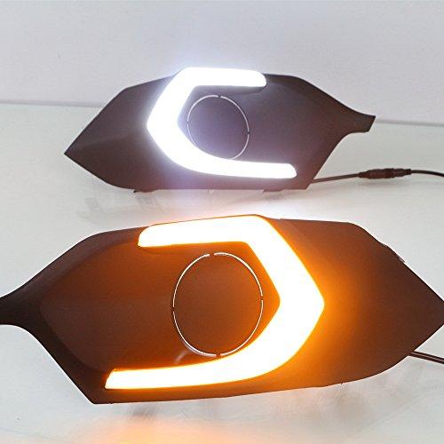 July King LED Feux de jour DRL pour Pajero Montero Sport 2016 2017 2018 2019, 6000 K Lumière LED Feu de pare-chocs avant avec jaune Feux de signalisation