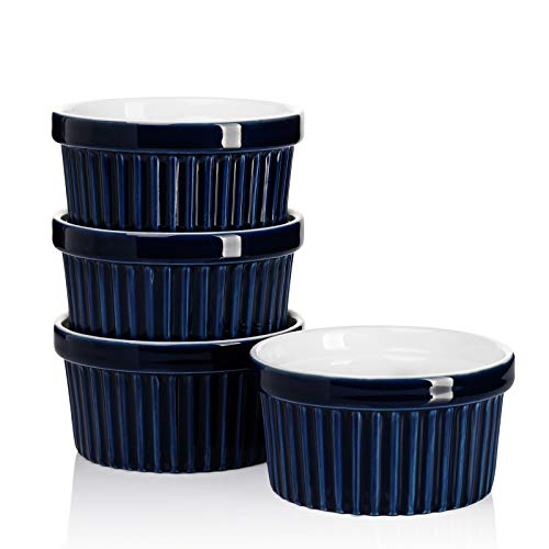 Sweese 501.403 Porcelain Souffle Dishes, Ramekins for Baking - 8 Ounce for Souffle, Creme Brulee - Set of 4, Navy
