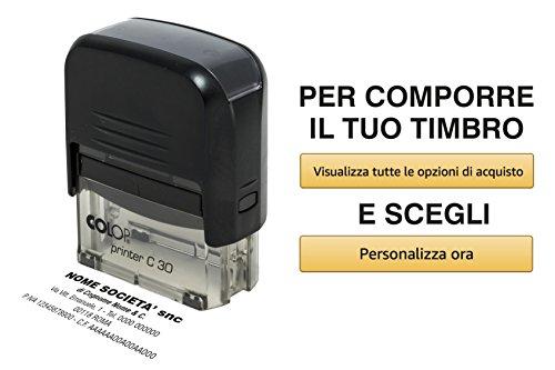 Timbro Personalizzato Autoinchiostrante Scegli e Componi Online il Testo Colop Printer C 30 Ufficio Scuola Lavoro 5 Righe