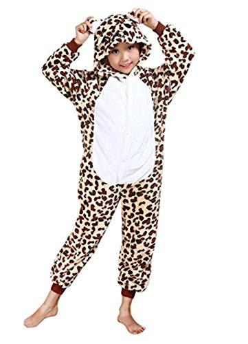 Unisexo Comodidad Suave Franela Disfrace Animales Bebe Kigurumi Traje de Dormir Cosplay Ropa de Salón Pijamas Animal para Niños Niñas Anime Fiesta (L, Leopardo)