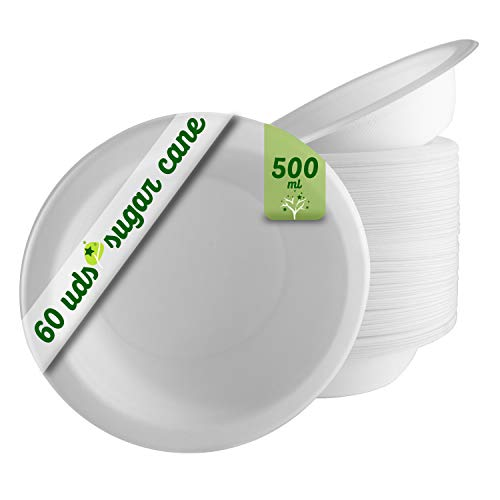 GoBeTree 60 Cuencos Desechables Biodegradable de Papel de caña de azúcar de...