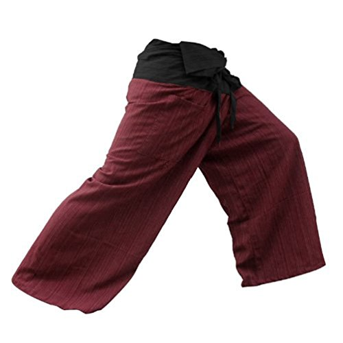 MEMITR 2 Tone Thai Fisherman Pants Yoga Trousers Free Size Cotton Black and Red