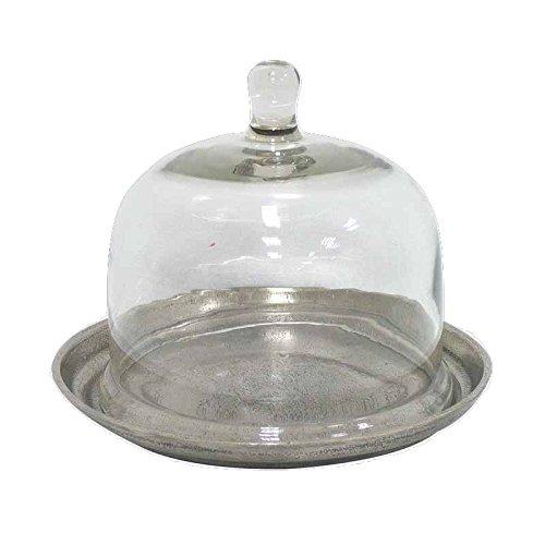 Better & Best Quesera de Aluminio Plateada Irregular, con Tapa de Cristal, alumino, 23 cm