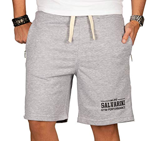 A. Salvarini Herren Sport Jogging Short Fitness Kurze Hose Trainingshose AS130 [AS-130-Grau-Gr.3XL]