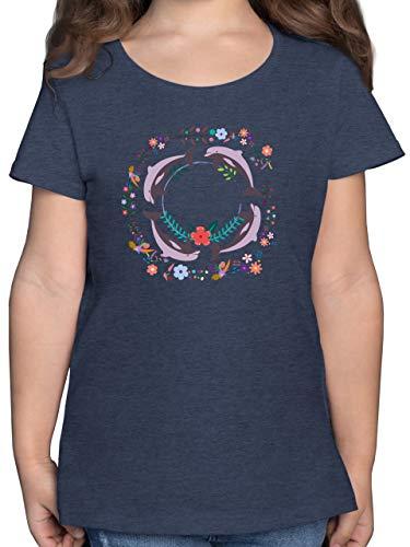 Tiermotiv Animal Print - Vintage Delfine Blumen Dolphin Flowers - 140 (9/11 Jahre) - Dunkelblau Meliert - Dolphin Shirt - F131K - Mädchen Kinder T-Shirt