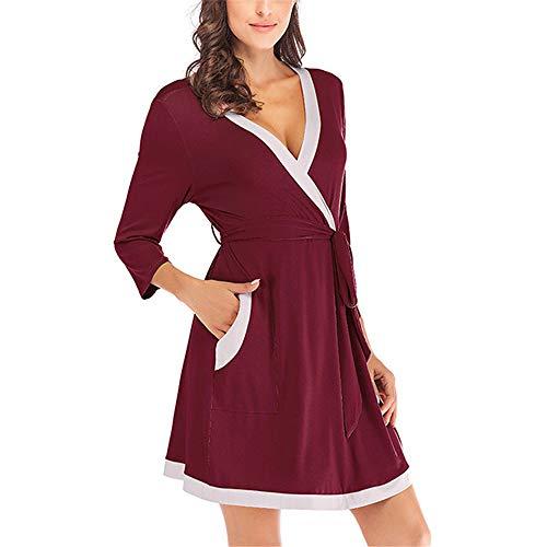 Fansu Elegante Cuello V Vestidos de Casa, Sexy Camisón Mujer Verano Pijama Camisón de Noche Camisones de Manga Larga Talla Grande Ropa de Noche Cárdigan Bata de Noche (S,Rojo)