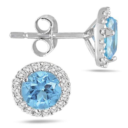 Orecchini da donna in oro bianco 14 ct con topazio blu e diamanti da 5 mm