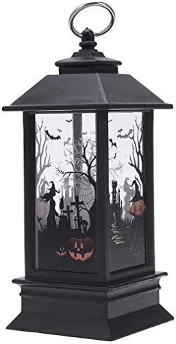 Raelf Mini Simulación Kerosene Lámpara Halloween Fantasma Decorativo Mano Patrón Linterna Portátil Vela Luz (Calabaza,)