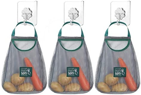 SUAMJU 3 Pcs Reusable Mesh Bags Hanging Storage Bags Mesh Washable Grocery Bags Washable with product image
