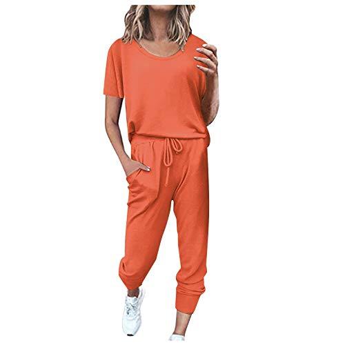 Bestyyo 2Pc Mujeres Pure Color Traje de Manga Corta Ocio Bolsillo Hogar Pantalones de chándal Conjuntos C11456 Naranja