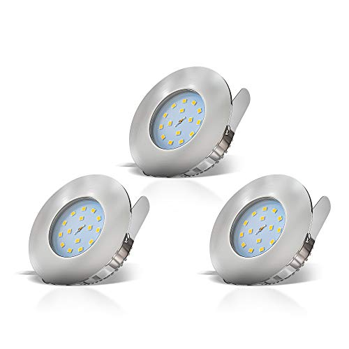 B.K.Licht I LED Badeinbaustrahler I 30mm Ultra Flach I Inkl. 3x 5W LED Module I IP44 I 3x400lm I warmweiße Lichtfarbe I Bad-Deckenspot I Bad-Einbaustrahler I Einbauspot