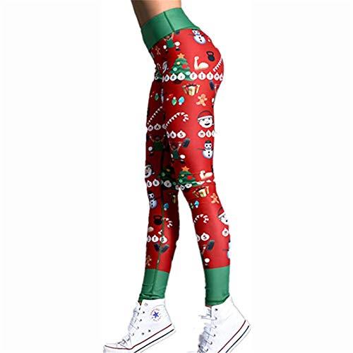 X/L Frauen in Voller Länge Weihnachtsmuster Yoga Leggings Laufen Fitness Pilates Strumpfhosen Fitnessstudio Skinny Pants(Color:C,Size:Mittel)