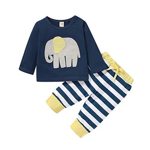 DAY8 Vetement Bebe Garçon Pas Cher Automne Jogging Fille Ensemble Bebe Fille Sport Pyjama Bebe Fille Hiver Cadeau Naissance Fille Tops Haut Bebe Fille Manche Longue + Pantalon (80(3-6 Mois), Bleu)