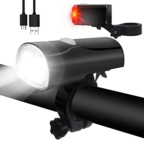 Abenteurer Fahrradlicht Set,Stvzo Fahrradbeleuchtung USB Wiederaufladbare Fahrradlampe Vorne Frontlicht und Rücklicht Led-fahrradlichter mit IPX4 Wasserdicht Beleuchtungs-Set, 50LUX Fahrrad Licht