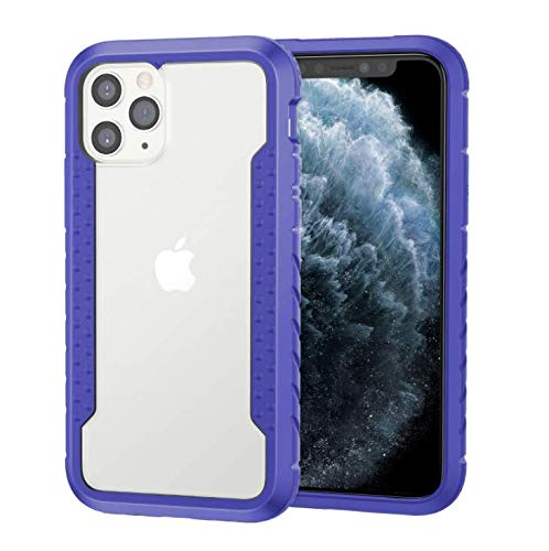 GOBY Coque iPhone 11 pro max Case Slim Fit TPU avec Support de BagueSilicone Gel Anti Mince Placage Bumper Housse Lustre Métal 360° Bague Support Téléphone Voiture Etui (bleu)