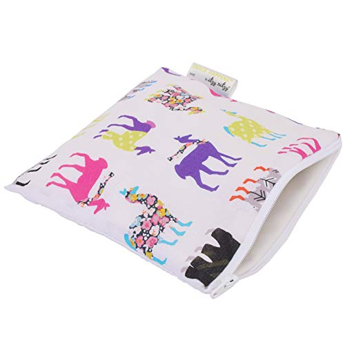 """Itzy Ritzy Reusable Snack Bag – 7"""" x 7"""" BPA-Free Snack Bag is Food Safe, Washable and Ideal for Storing Snacks, Pacifiers, Electronics and Makeup in a Diaper Bag, Purse or Travel Bag, Llama Glama"""