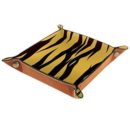 Bandeja de Valet Cuero para Hombres - Tigre marrón - Caja de Almacenamiento Escritorio o Aparador Organizador,Captura para Llaves,Teléfono,Billetera,Moneda