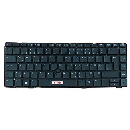 Tastatur - Farbe: Schwarz - ohne Rahmen - TrackPoint - Mausstick Deutsches Tastaturlayout kompatibel für HP EliteBook 8460p, 8460w, 8470P, 8470w