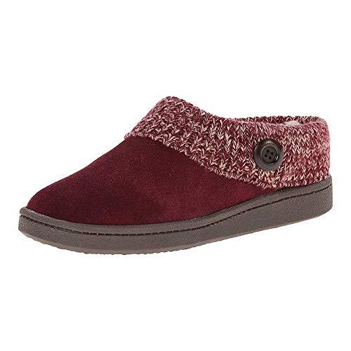 Zapatillas Mujeres Algodón Pantuflas,Mujeres Zapatillas Invierno Caliente Piel Zapatillas Hombres Mujeres Niñas Casa Zapatos Flat Heel Hogar Interior Dormitorio Vino Tinto Cómodo Cálido Acogedor