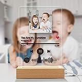 VEELU Personalizado Escaneo Código Spotify Acrílico con Música y Canción y Foto De Luz Nocturna Mejor Regalo Para Niños y Amigos