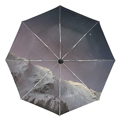 MNSRUU Kompakter Regenschirm, Schnee Berge unter den Sternen, Reise-Winddicht, automatischer Regenschirm, tragbar, faltbar, leichtes Design